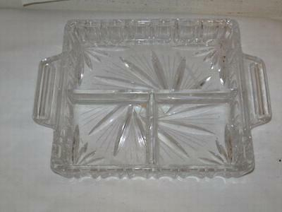 Antique Heavy Crystal Pressed & Cut Glass 3pt Condiment Tray Platter VFC