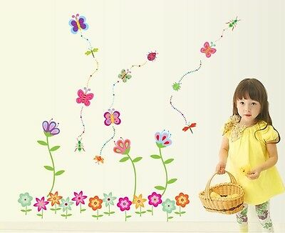 Butterfly Flower Removable Nursery Baby Kids Room Removable Wall Sticker Decal