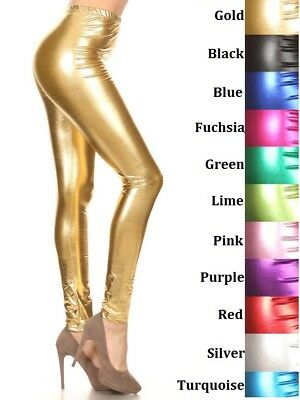 69955e0042035 Shiny Coated Metallic Wet Look Leggings Footless S M L Xl Assorted Colors