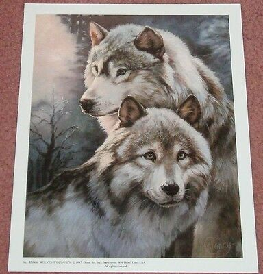 Wildlife Art Print - Wolves:  9x11 In.