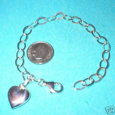 8 pieces Sterling Silver 925 Flat CABLE Chain with HEART Charm BRACELETS Lot