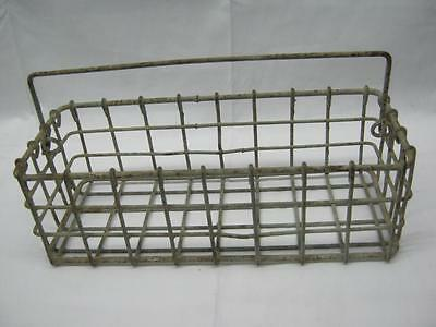 Vintage Galvanized Wire Basket Drop Handle Country Old  #2473-13
