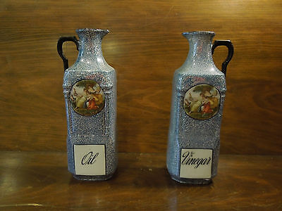 Victorian China Oil and Vinegar Canisters Made In Czechoslovakia
