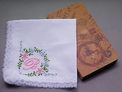 B Initial White Handkerchief Embroidered Monogram Letter Name Hanky Lace Wedding