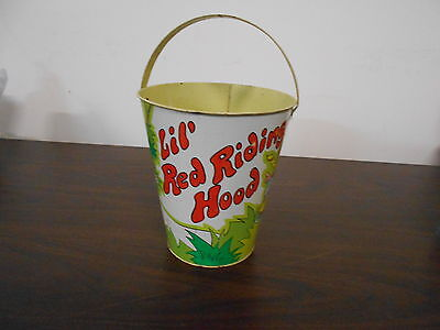 Antique Vintage Lil Red Riding Hood Tin Pail