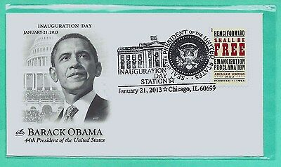 Obama 2013 Inauguration Cover, Chicago, Il Cancel-Emancipation Stamp