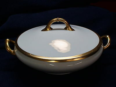 VINTAGE HEINRICH H & Co, WHITE/GOLD BAND ROUND COVERED VEGETABLE TUREEN