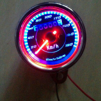Universal Double Color LED Light Odometer Speedometer km/h for Motorcycle dlp