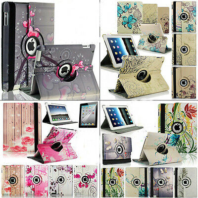 4-Design Fashion Flower Pattern 360 Rotating PU Leather Case for ipad 2/3/4