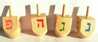 Lot 4 Wood Dreidels Jewish Top Sevivon Hanukkah Craft Festival of Lights Judaica