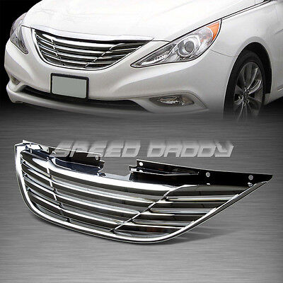 SPORT HORIZONTAL STYLE FRONT HOOD BUMPER ABS GRILL/GRILLE/FRAME 10-13 YF CHROME