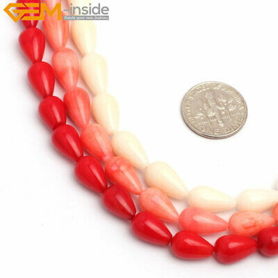 "Tear Drop Coral Beads For Jewelry Making 15""  Dyed Natural Coral Jewelry Beads"