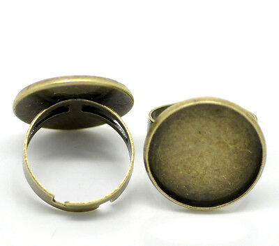 10 Pop Bronze Tone Adjustable Round Cabochon Setting Rings 18.3mm US 8
