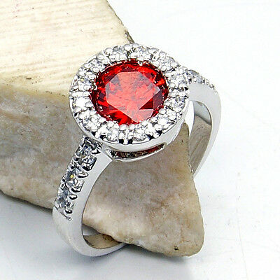 """PASSION'S FLAME"" GARNET, WHITE TOPAZ & .925 SILVER RING SIZE 7 3/4; GIFT W118"