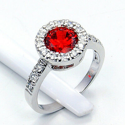 """PASSION'S FLAME"" GARNET, WHITE TOPAZ & .925 SILVER RING SIZE  5 GIFT W120"