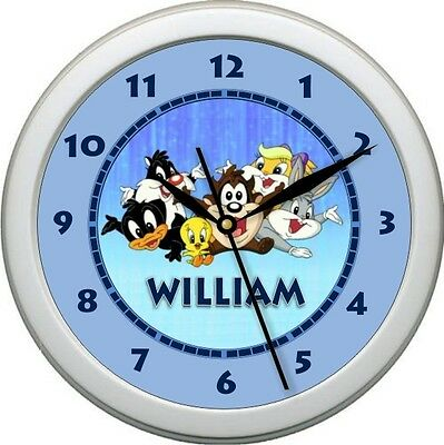 Personalized Little Looney Tunes Wall Clock  Child's Bedroom Decor Gift