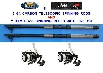 Lineaeffe Carbon Twin Top Spinning Rod-2 top spin rod /& Red Bass 050 Reel /& Line