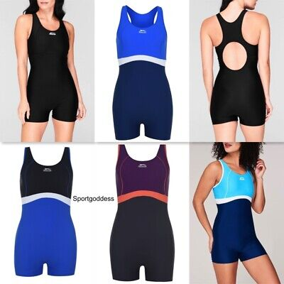 Slazenger Ladies Long Leg Swimsuit Boyleg Swimming Costume Swimmers Triathlon