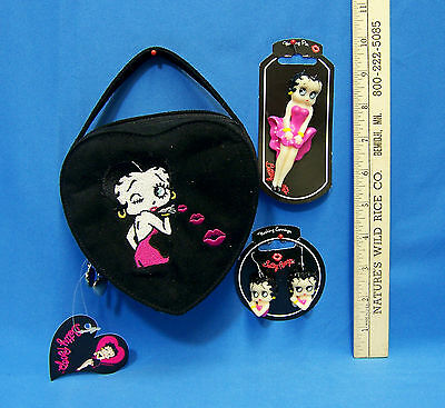 Betty Boop Heart Shaped Bag Purse  Hot Pink Pin Brooch Pierced Earrings Lot  3