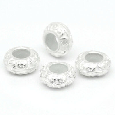 10 PCs Stoppers W/Rubber Beads Carved Pattern Silver Plated 11mmx5mm