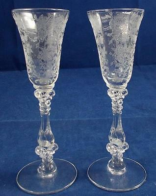 Cambridge WILDFLOWER-CLEAR 2 Cordial Glasses 3121 GREAT CONDITION