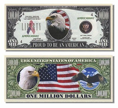 100 Factory Fresh Proud To Be An American Million Dollar Bills