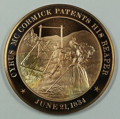 History of the U.S. Cyrus McCormick Patents His Reaper (1834) Proof Bronze Medal