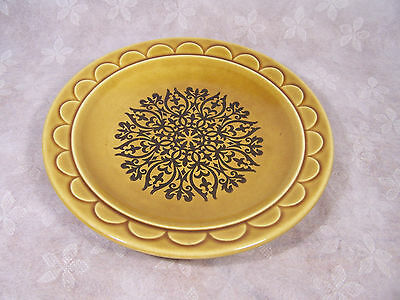 Homer Laughlin Castilian Coventry 7inch Salad Plates Gold and Black 1970's