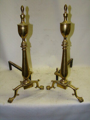 Nice Antique Pair of PURITAN Spire Top EAGLE CLAW  Brass Fireplace Andirons