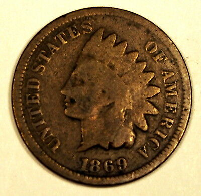 USA 1869 - 1 cent coin - about Very Good