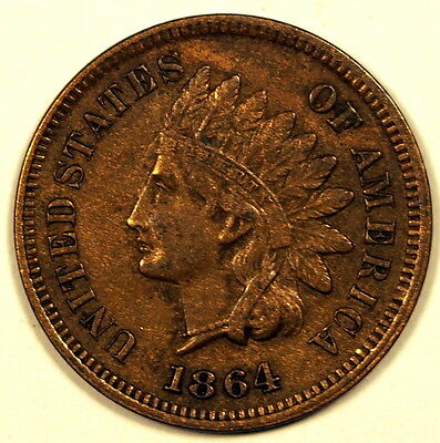 USA 1864 'L' on ribbon 1 cent coin - good Very Fine, about Very Fine