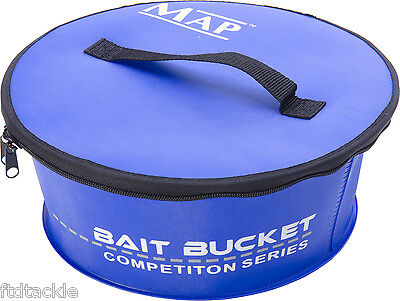 Map Eva Groundbait Bowl With Zipper Lid Coarse Fishing Bait Bucket Choose Size