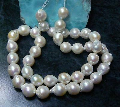 "RARE GENUINE WHITE BAROQUE FLAMEBALL NUCLEATED PEARL 10-11mm 16"" STRAND"