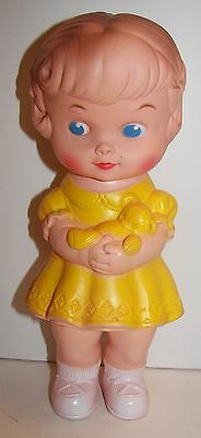 Edward Mobley Girl with Teddy Bear Rubber Squeaky Toy Doll (NM)