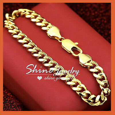 9K Gold Filled DIAMOND CUT 8MM CURB RING CHAIN MENS WOMENS SOLID BRACELET BANGLE