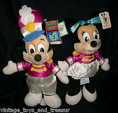 "15"" Vintage Mickey & Minnie Mouse Disney Stuffed Animal Plush Toy Band Conductor"