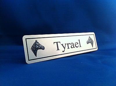Personalised Horse Name Plaque Stable Door 200mmX50mm Silver