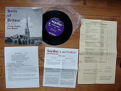 "7"" 45 SAYDISC SD 127 ""Bells Of Britain Vol.1 Change Ringing From Bristol"" EXTRAS"