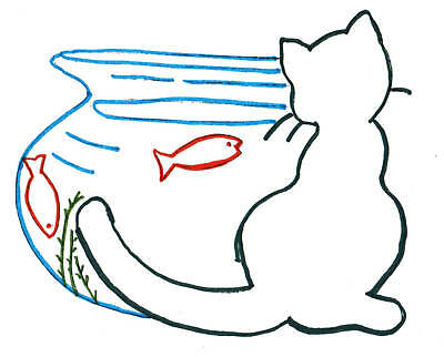 M204 Applique Cat Kitchen Tea Towels DOW Embroidery pattern transfer