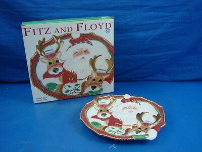 New Fitz & Floyd Santa's Flight Canape Plate 2003 New in the Box