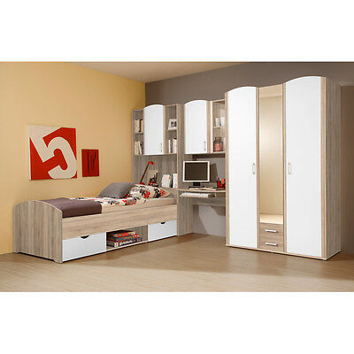 m dchenzimmer 4 tlg kinderzimmer schrank bett 90x200 nako. Black Bedroom Furniture Sets. Home Design Ideas