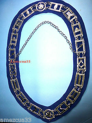 Master Mason Masonic Blue Lodge Chain Collar Silver finish Blue Backing