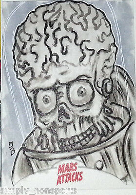 MARS ATTACKS INVASION 2013 topps SKETCH CARD / DAN BERGREN