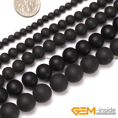 "Natural Black Onyx Gemstone Matte Round Beads For Jewelry Making 15"" 4mm 6mm 8mm"