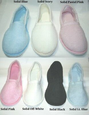 Womens Solid Color Terry Closed Toe House Slipper Pink Black Blue Ivory S M L Xl