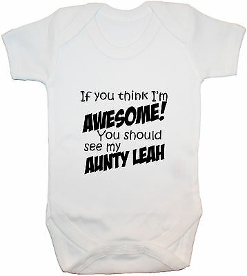 Personalised Awesome Aunty Baby Bodysuit/Romper/T-Shirt/Vest 0-24m Gift Boy Girl
