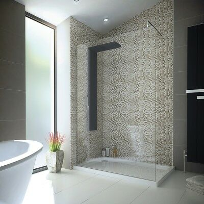 1200 x 800 Walk in 8mm Glass Wetroom Shower Enclosure Cubicle with Stone Tray
