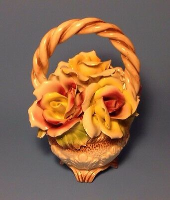 "VINTAGE ITALIAN CAPODIMONTE FLOWER BASKET BOUQUET HAND MADE PORCELAIN 10"" new"