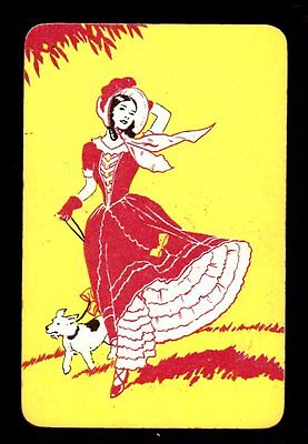 Vintage Swap/Playing Card - Deco Lady with Dog on Leash
