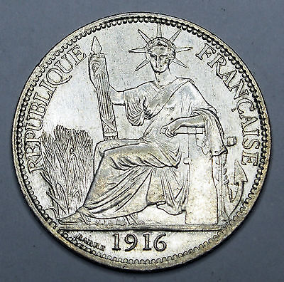 French Indo China 1916 'A'  20 cent coin in nice Extremely Fine condition.